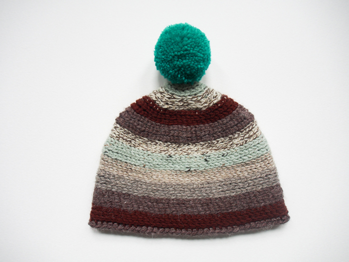 teal and maroon pompom hat handmade by Westervin