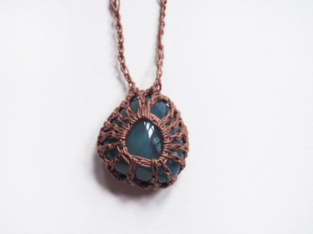 Westervin Shop: Handmade Crochet Amazonite Stone Necklace in Mushroom