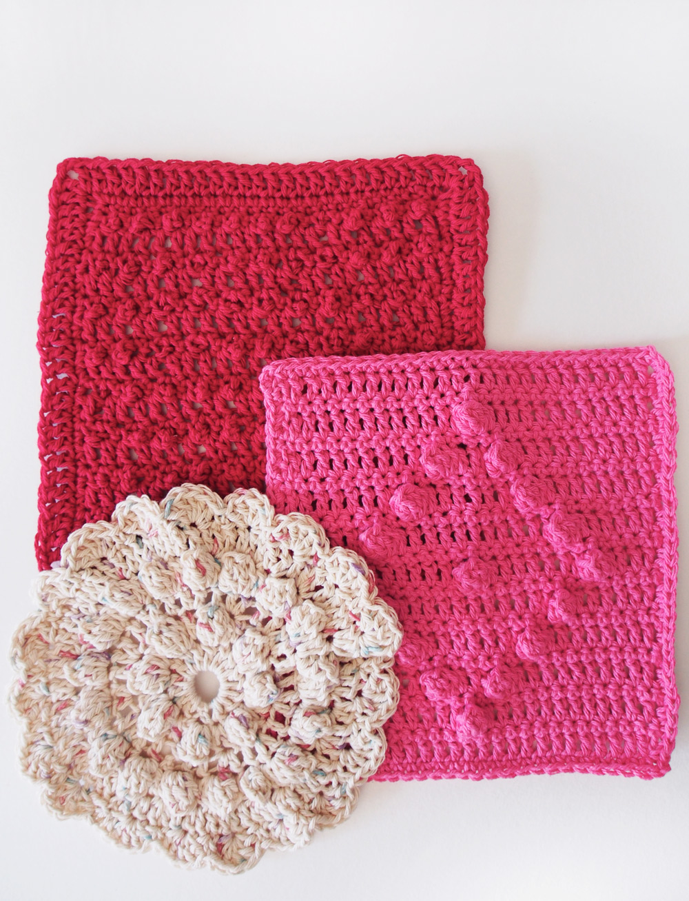 Westervin Shop: Handmade Crochet Dishcloth Set in Raspberry, Bubblegum, and Cream