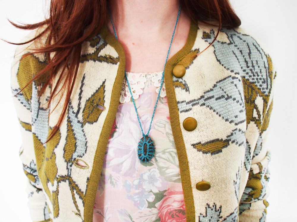 Westervin Shop: Handmade Crochet Stone Necklace in Teal