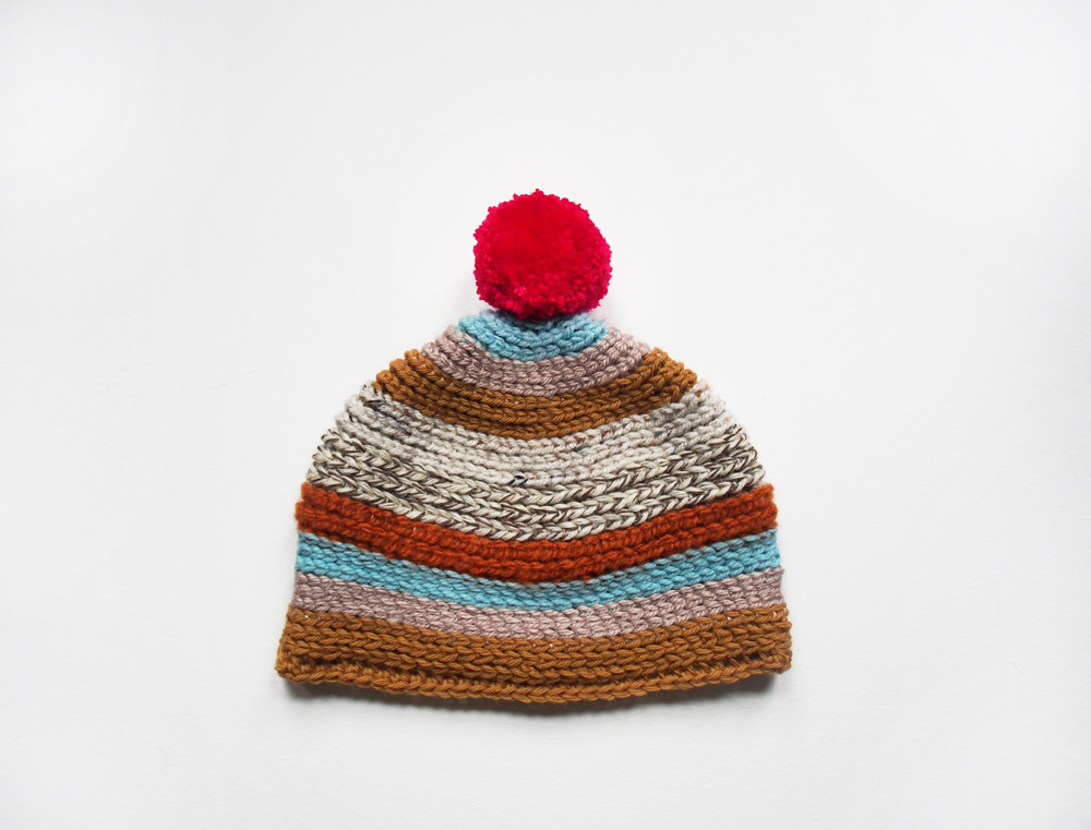 Westervin Shop: Handmade Crochet Pom-Pom Hat in Mustard, Blue, and Hot Pink