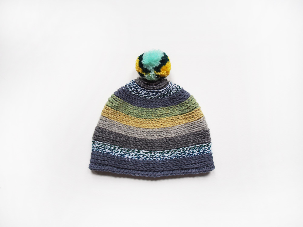 Westervin Shop: Handmade Crochet Pom-Pom Hat in Slate, Chartreuse, and Seafoam
