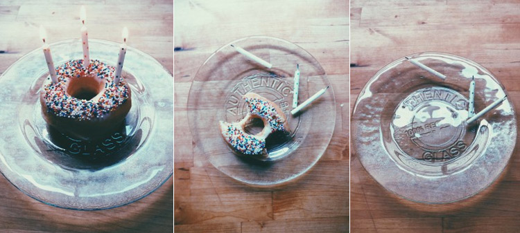 a sprinkle doughnut with candles for the Westervin's 3rd wedding anniversary