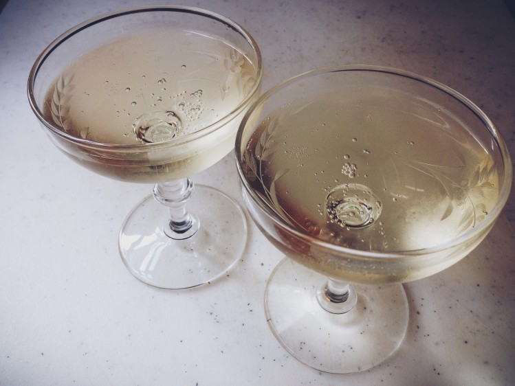 champagne saucers to celebrate the Westervin's 3rd wedding anniversary