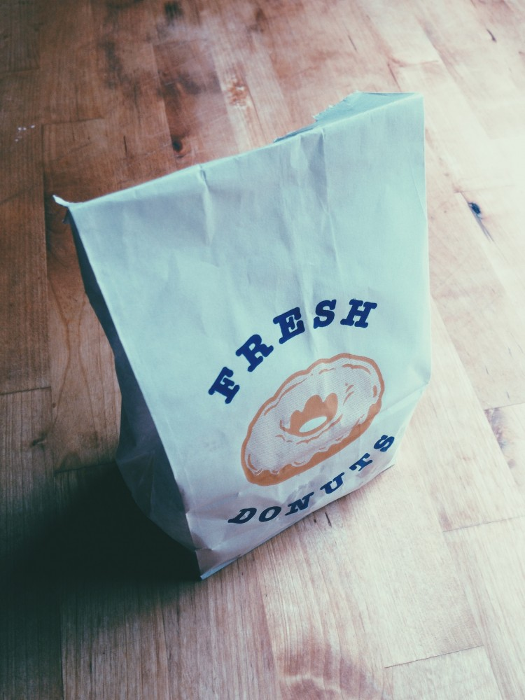 bag of fresh doughnut holes for the Westervin's 3rd wedding anniversary
