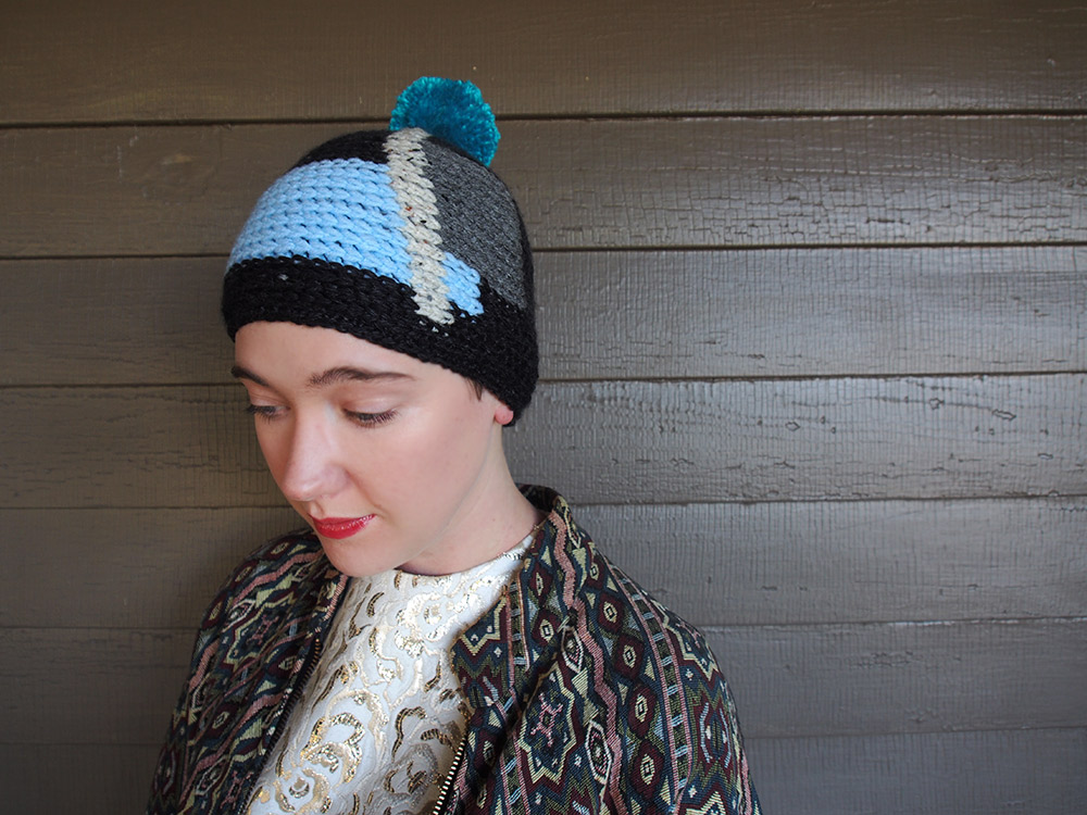 Cubist Crochet Pom-Pom Cap by Westervin