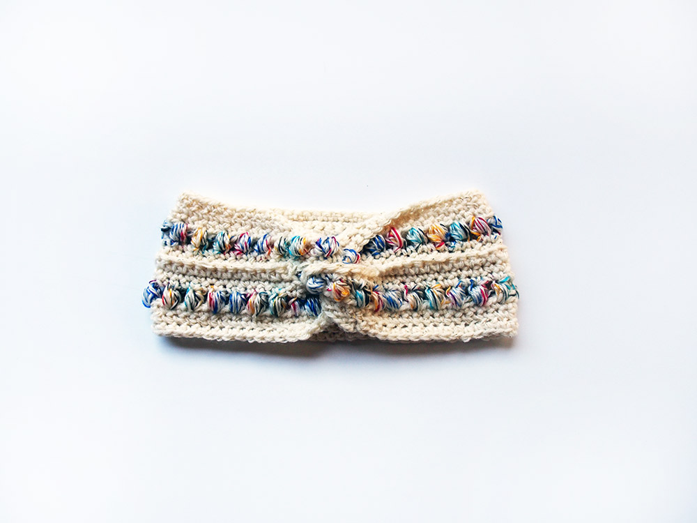 Cream & Rainbow Turban Headband by Westervin