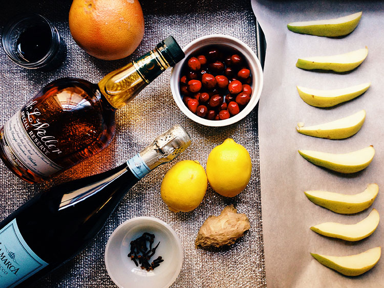 ingredients for the Bourbon Cran-Peary Sparkler - a perfect NYE cocktail