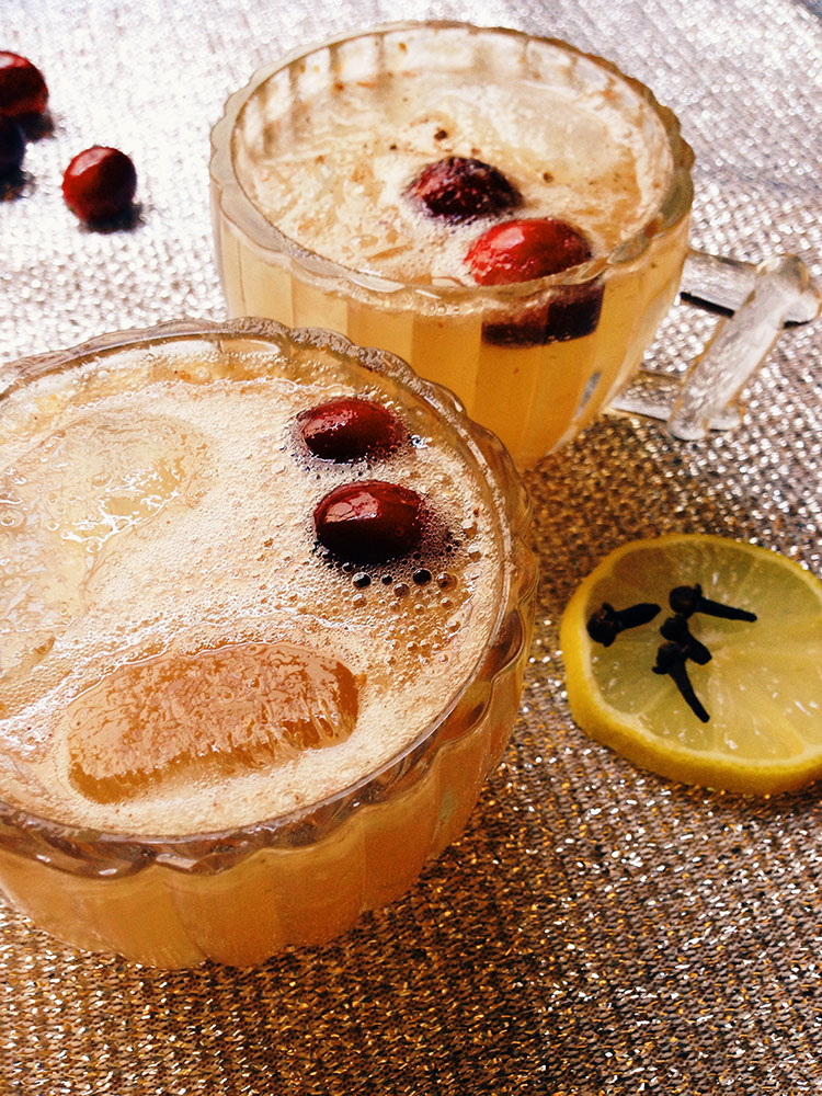 A bubbly punch cocktail for New Year's Eve: The Bourbon Cran-Peary Sparkler from Westervin