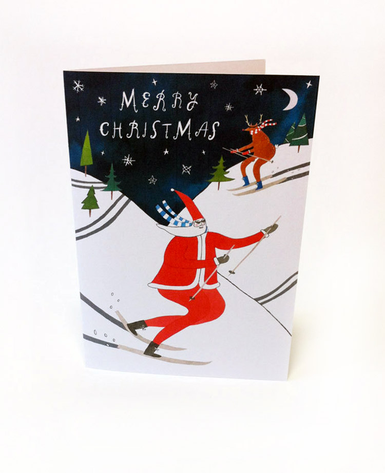 Skiing Santa Christmas Card