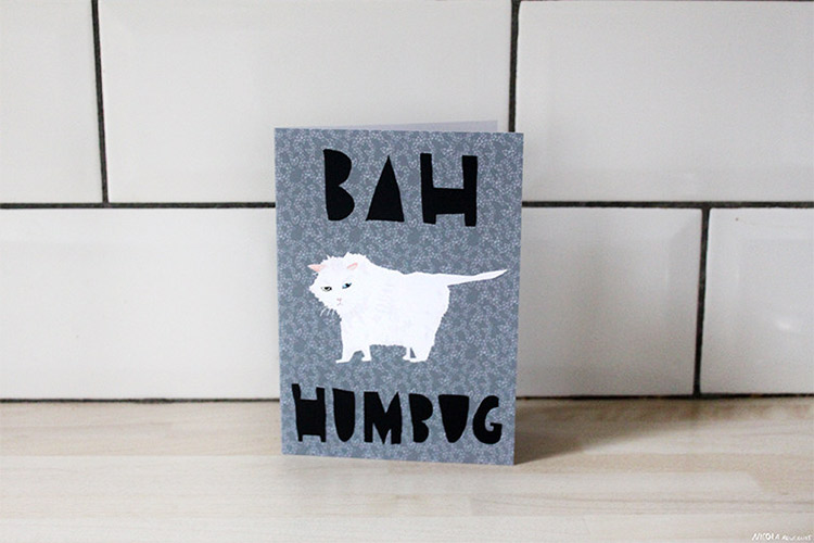 Bah Humbug Cat Christmas Card