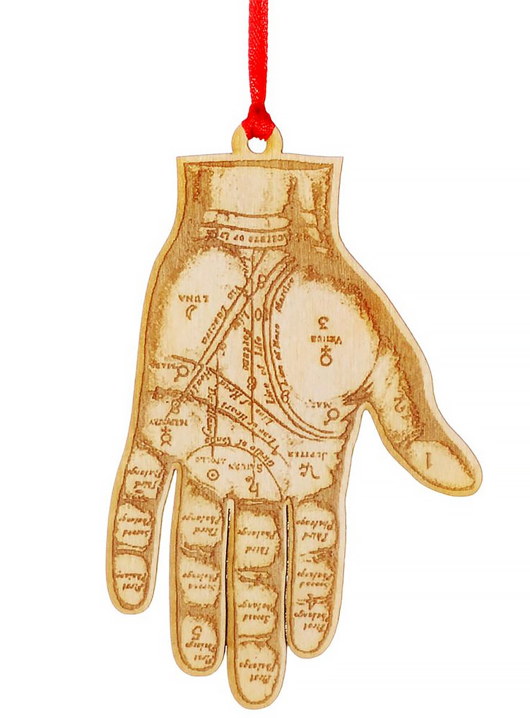 Palmistry Wooden Hand Ornament