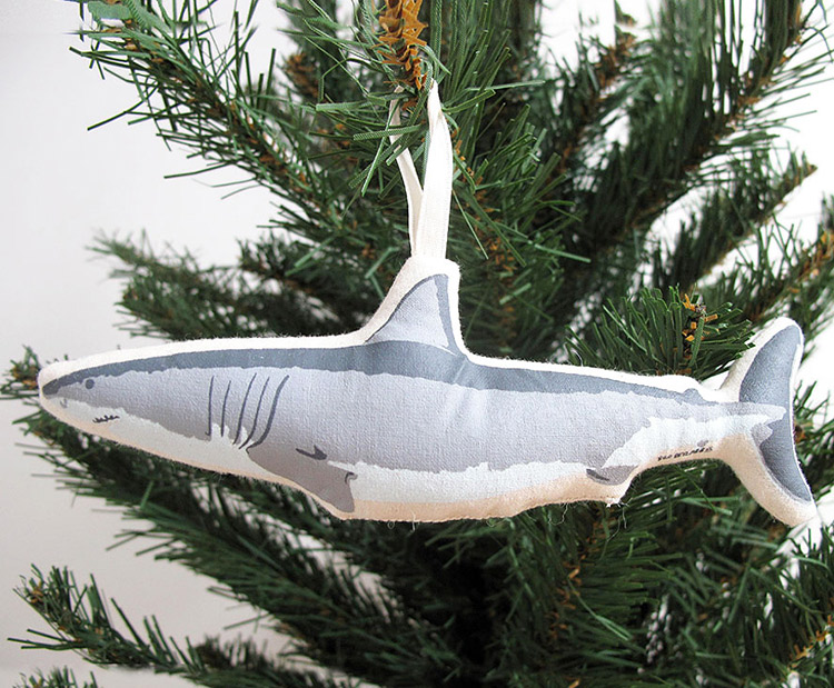 Handmade Stuffed Shark Christmas Tree Ornament