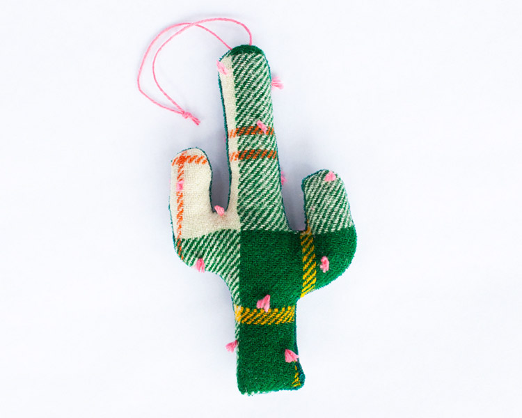 Handmade Plaid Wool & Velvet Cactus Ornament