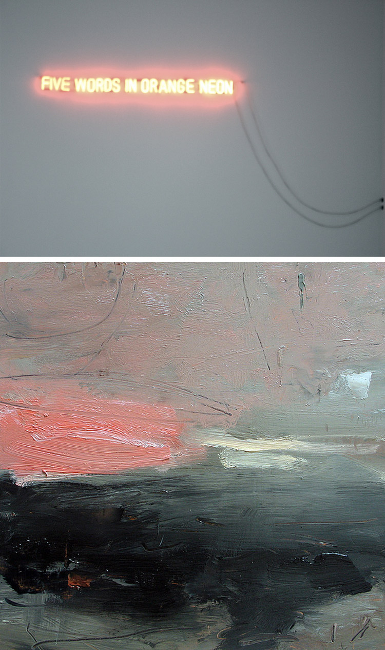"{ Untitled photograph by Sophia of ""Five Words in Orange Neon"" by Joseph Kosuth; ""Dark land, pink cloud"" by Louise Balaam"
