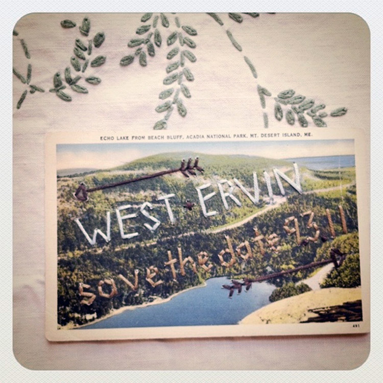 Westervin's handmade save-the-dates, embroidered on vintage postcards