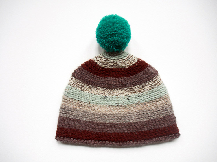 handmade crochet beanie with stripes and pom-pom from Westervin