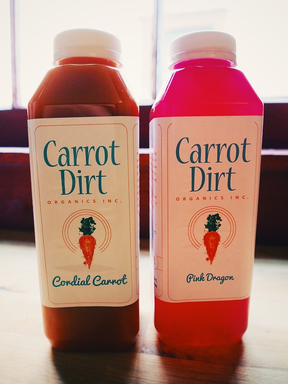 Cordial Carrot and Pink Dragon - organic, cold-press juices from Carrot Dirt Organics, Inc.