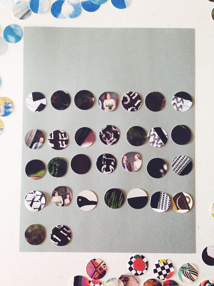 "arrange 1"" discs on cardstock for a DIY calendar"