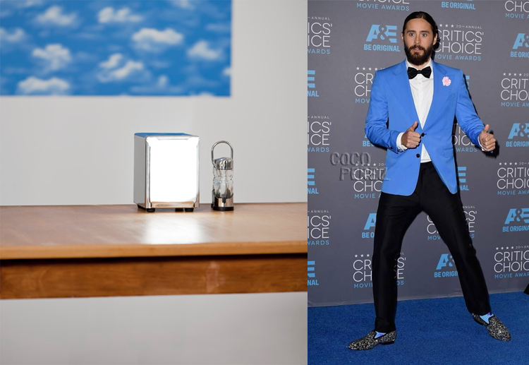 Dispenser by Eyal Pinkas; Jared Leto at the 2015 Critics' Choice Awards