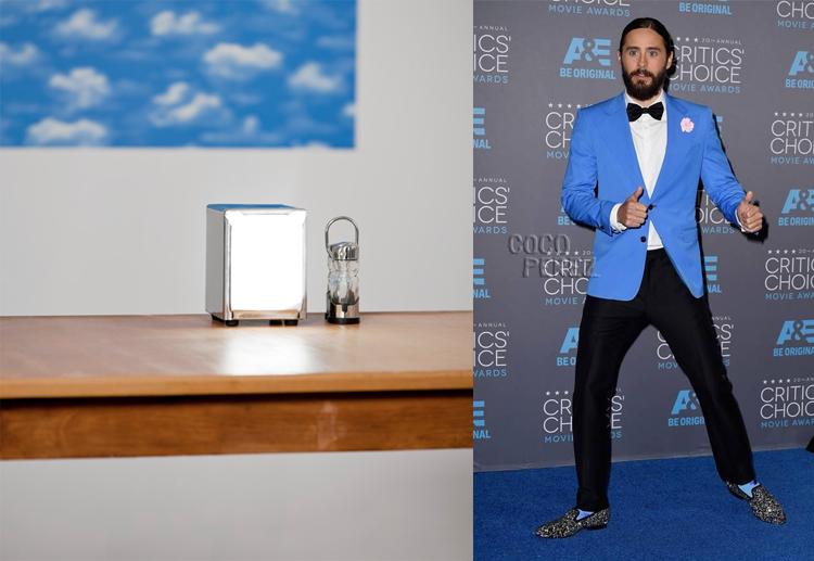 Dispenser by Eyal Pinkas; Jared Leto at the 2015 Critics' Choice Awards