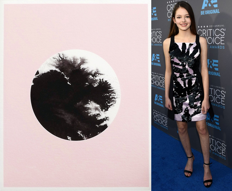 Ink 'd Pink by Becky Kemp; Mackenzie Foy at the 2015 Critics' Choice Awards