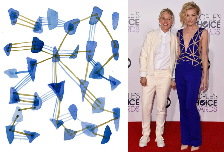Sea Glass Connections by Louise van Terheijden; Ellen DeGeneres and Portia de Rossi at the 41st Annual People's Choice Awards Red Carpet