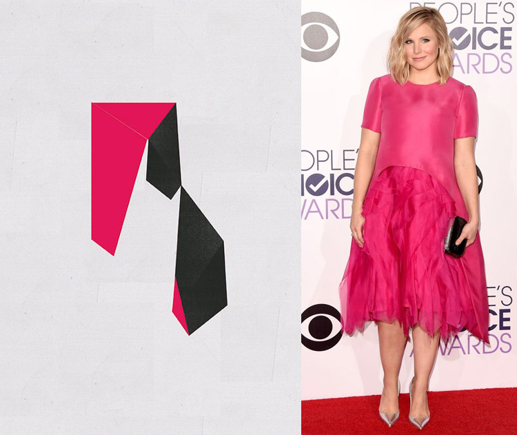 Abstract Composition VIII by Jesus Perea; Kristen Bell at the 41st Annual People's Choice Awards Red Carpet