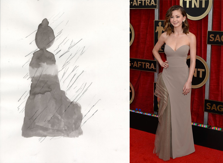 Figure by Peter Hurley; Kimiko Glenn at the 21st Annual Screen Actors Guild Awards