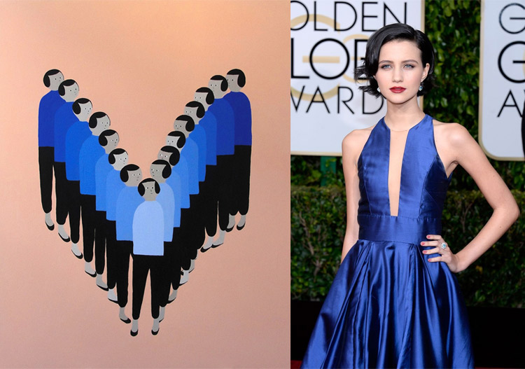 Untitled by Santiago Salvador; Julia Goldani Telles at the 72nd Annual Golden Globe Awards