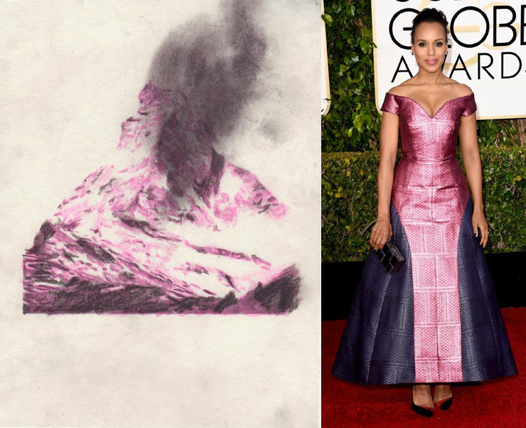 What is Visible (Smoke) by Becca Kallem; Kerry Washington at the 72nd Annual Golden Globe Awards
