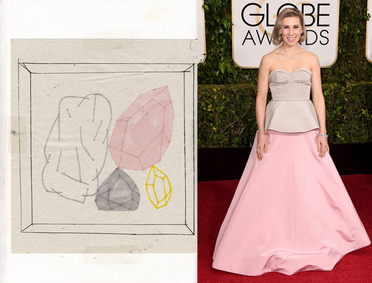 Untitled by Antoine Caecke; Zosia Mamet at the 72nd Annual Golden Globe Awards