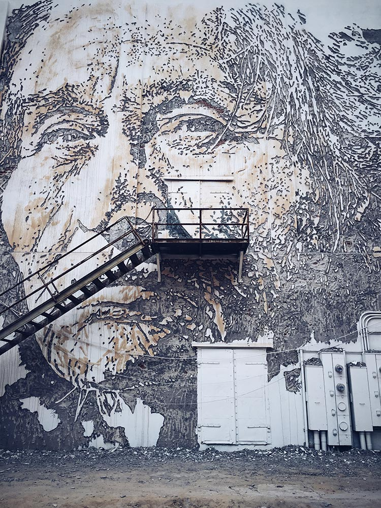 mural by Vhils in Fort Smith, AR